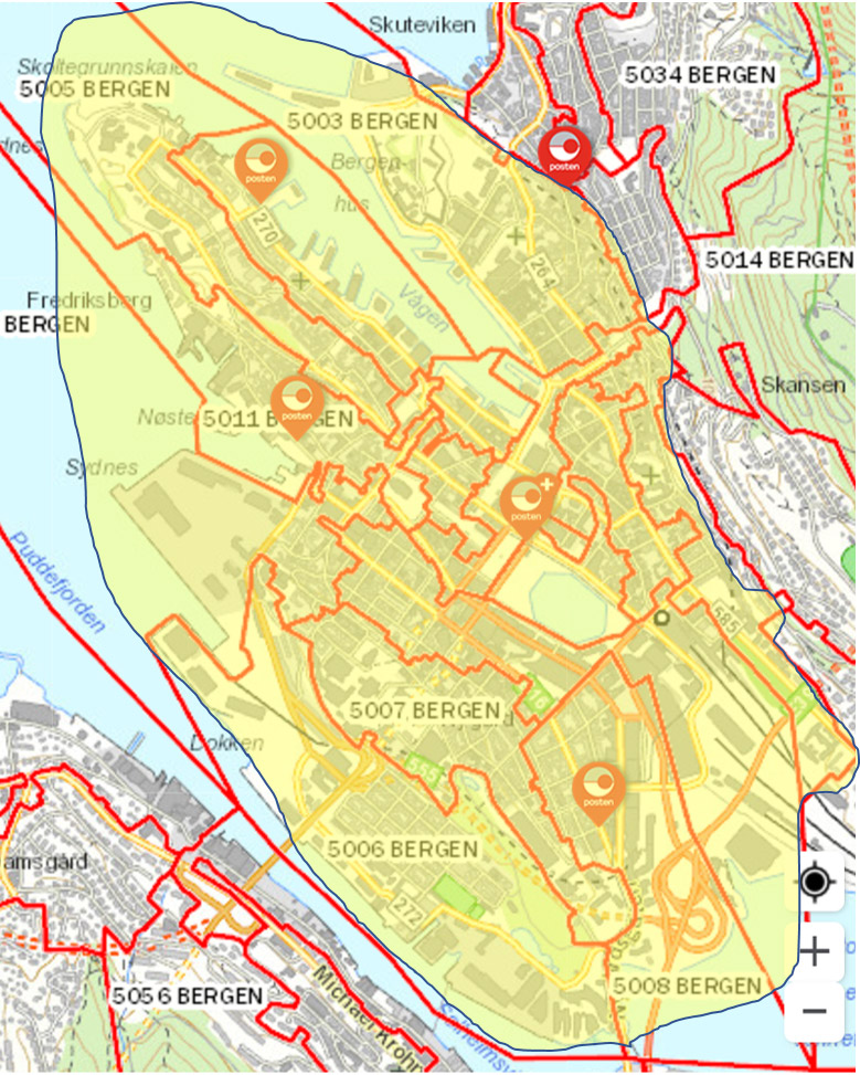 fastpris på taxi innenfor dette området i kartet